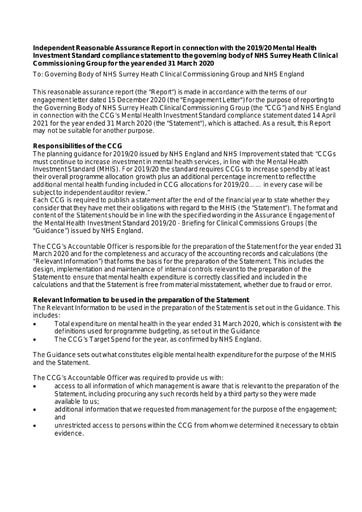 Independent Reasonable Assurance Report in connection with the 2019/20 Mental Health Investment Standard compliance statement NHS Surrey Heath Clinical Commissioning Group for the year ended 31 March 2020