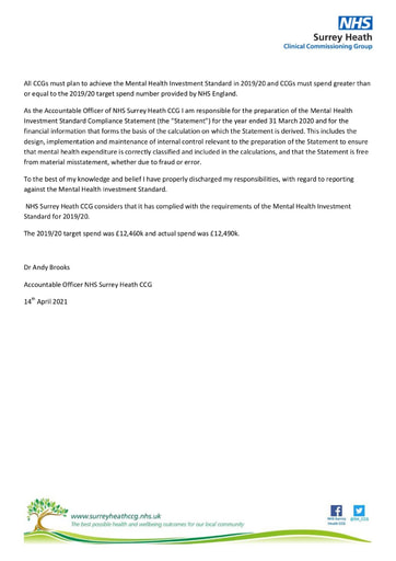 Surrey Heath Mental Health Investment Standard Statement of Compliance and audit