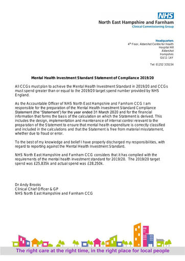 North East Hampshire and Farnham CCG Mental Health Investment Standard Statement of Compliance and audit